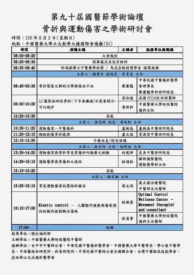 台中市中醫師公會第90屆國醫節學術論壇暨骨折與運動傷害之學術研討會